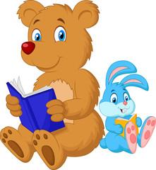 Cartoon bear and rabbit reading book