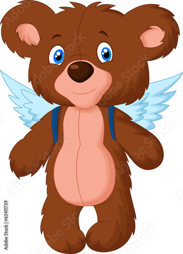 Cartoon baby bear with wings
