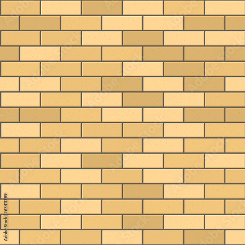 Seamless Pattern of Yellow Brick with Dark Seam. Vector