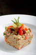 Buckwheat with vegetables, Selective focus