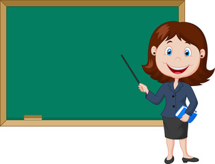 Cartoon female teacher standing next to a blackboard