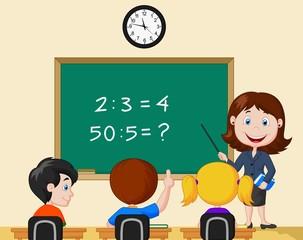 Teacher pointing at blackboard