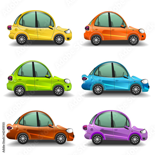 Colorful cartoon cars