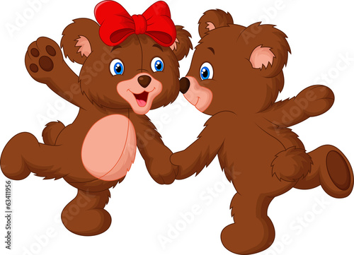 Cute bear couple dancing