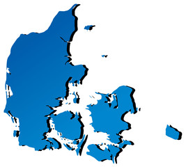 High detailed vector map - Denmark
