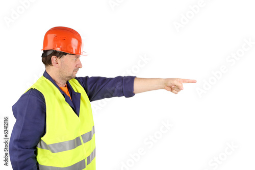 Worker in hard hat with hand up