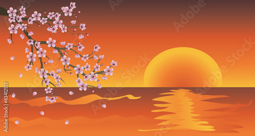 Sakura Branch at Sunset