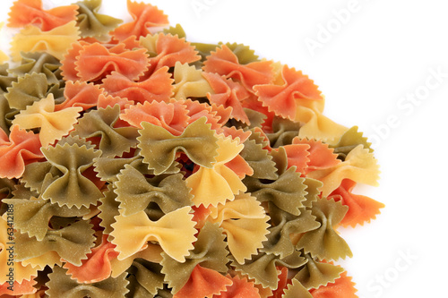 close up of the farfalle three colors