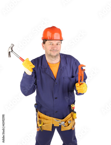 Worker in hard hat holding hammer