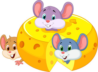 Cartoon mouse hiding inside cheddar cheese