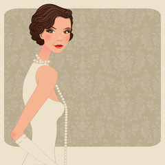 retro woman party background