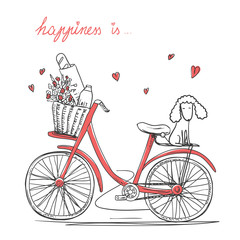 Bicycle with a flowers and dog