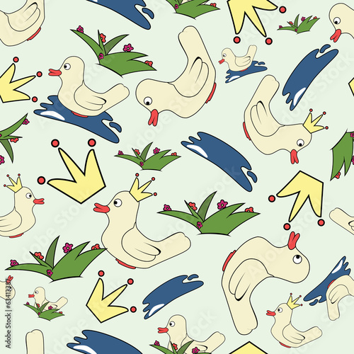 Seamless background ducks in cartoon style