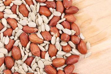 Peanuts and sunflower seeds.