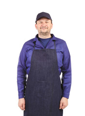 Smiling man dressed in apron.