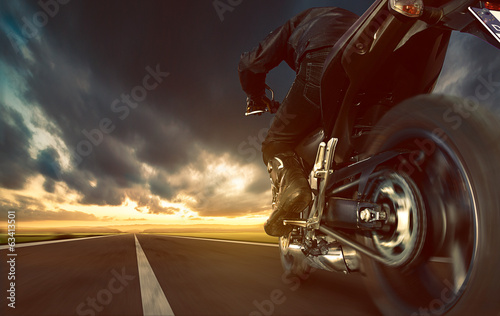 canvas print picture Speeding Motorcycle