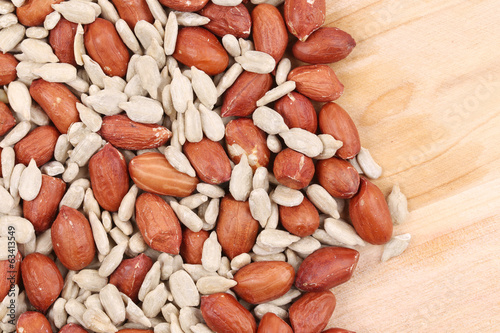 Peanuts and sunflower seeds.