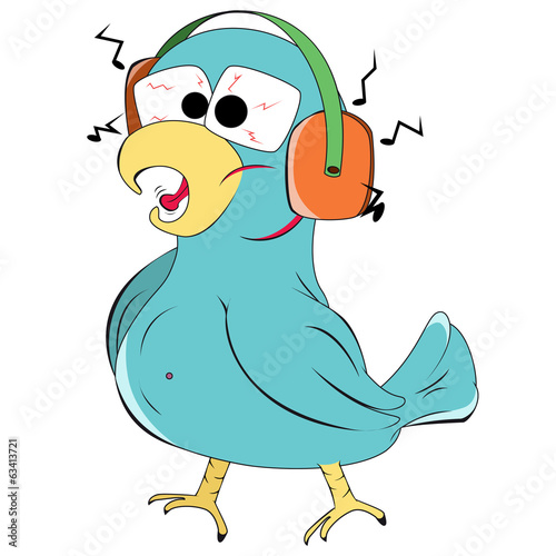 Bird with headphones in cartoon style isolated on a white backgr