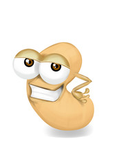 Cool funny cashew cartoon character with a big smile.