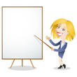 Cartoon business woman, presentation, explaining, blank board