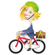 Cartoon business woman commuting, riding bike