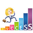 Successful cartoon business woman running growing chart