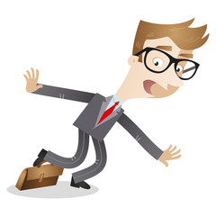 Clumsy cartoon businessman stumbling over briefcase