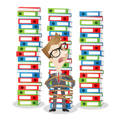 Helpless cartoon businessman tied to stack of binders