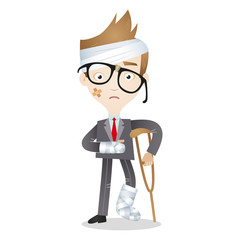 Injured cartoon businessman bandages crutches