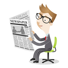 Cartoon businessman office chair reading newspapers
