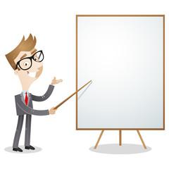 Cartoon businessman explaining pointing blank white board