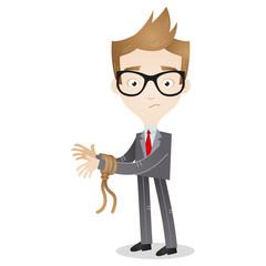 Cartoon businessman with tied hands