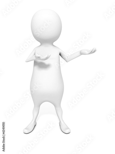 white 3d man presents your product holding his hand