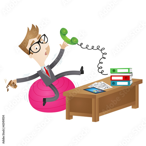 Clumsy cartoon businessman, wobbly exercise ball, desk
