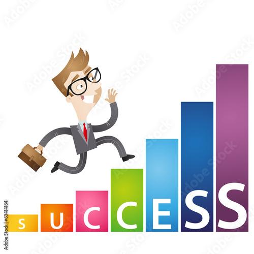 Successful cartoon businessman running growing chart