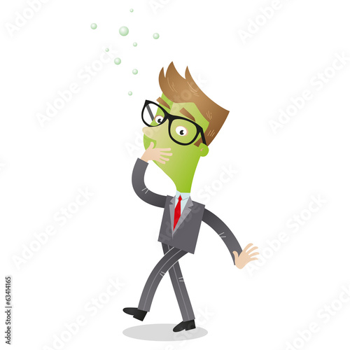 Nauseous and green faced cartoon businessman