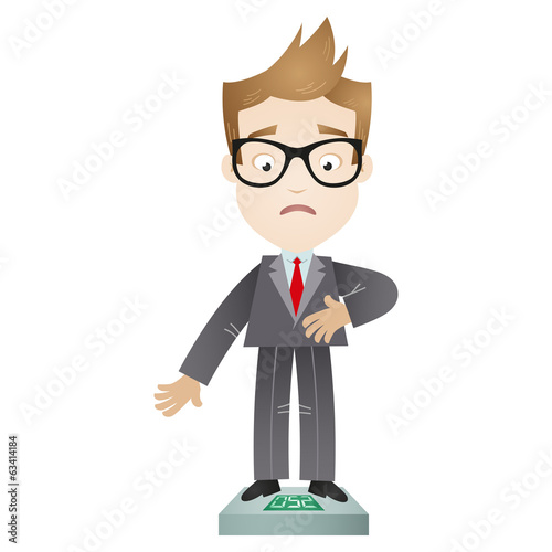 Overweight cartoon businessman standing on scales