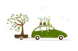 Cottager driving green car with tree in trailer