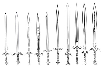 Set of silhouettes of swords tattoo