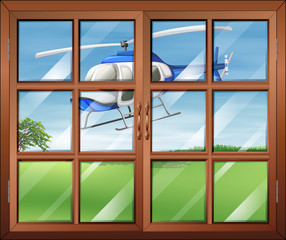A closed window with a helicopter outside