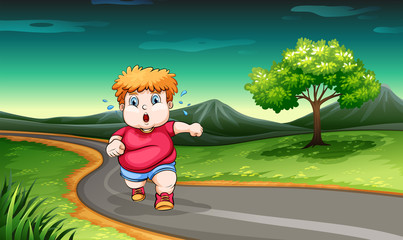 A young boy jogging