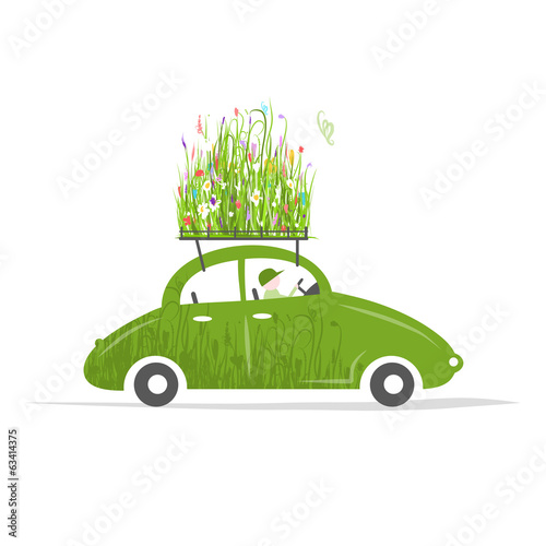Cottager driving green car with plants on roof