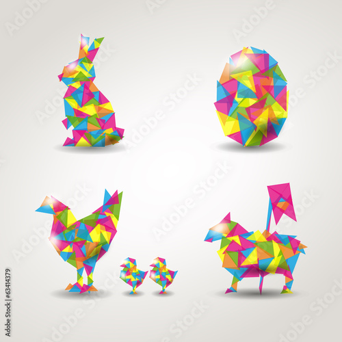 Easter elements characters geometric vector