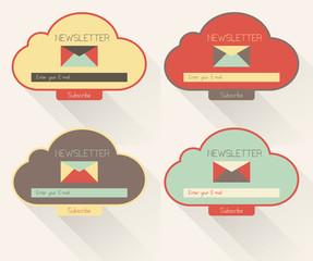 Set of newsletter form templates, modern flat user interface.
