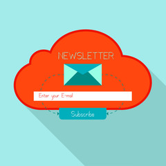 Newsletter cloud form with an envelope.