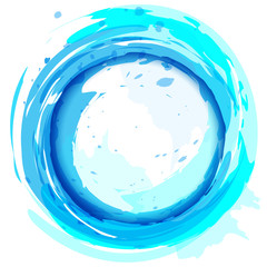 Round frame. Blue vector background with brush strokes and splas