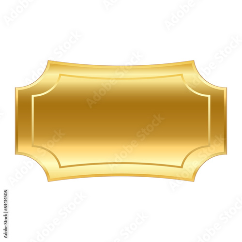 Event background. Rectangular golden vector medal.