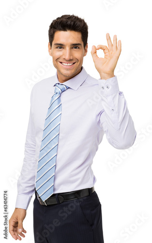 Confident Businessman Gesturing Okay