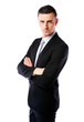 canvas print picture - Businessman standing with arms folded over white background