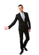 Happy businessman gesturing